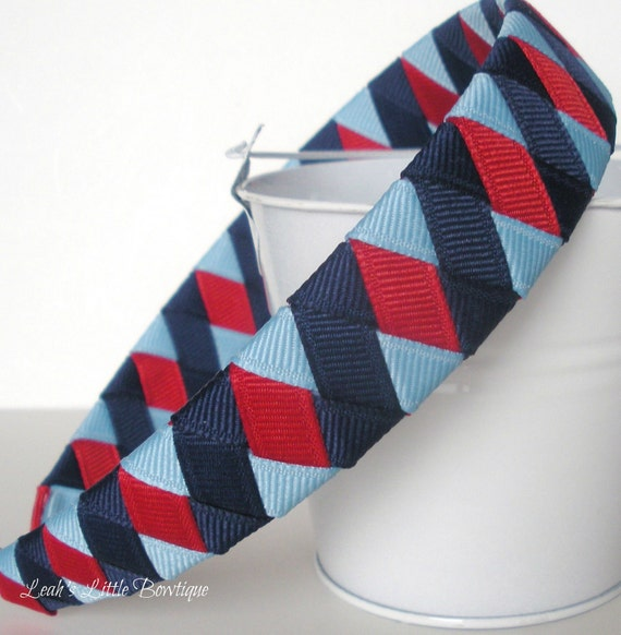 Red Blue Headband:  one inch wide woven boutique headband Perfect for Memorial Day
