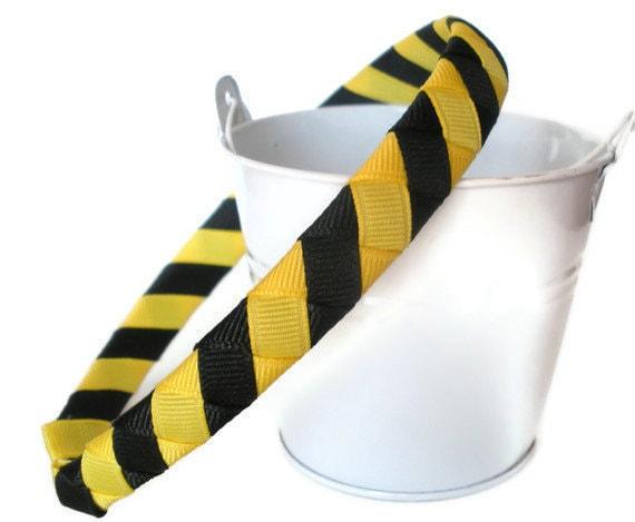 Woven Headband Tiger Stripe black and yellow one half inch wide