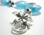 SALE (was 50.00) - Icy Blue Venetian Glass Bracelet with Silver Floral Toggle