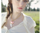 Jurassic Pink Necklace, Adjustable Length Chain with Dramatic Saber Tooth Pendant