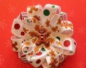 Christmas Winter Holiday Red White Green Candy Cane Gingerbread Polka Dot Ribbon Hair Bow (12)