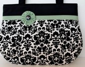 My FAVORITE Black and White Damask w/green