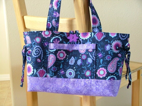 Clearance  The TAYLOR  Navy and Lavender Floral Purse