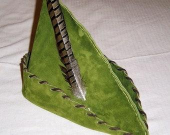 Robin Hood / Peter Pan Hat - Moss Green Suede, Brown Trim