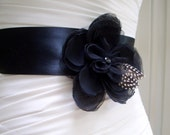 JOSIE - Black on Black Bridal Sash - 14 day turnaround