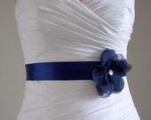 Handmade Navy Flower on Navy Blue Satin Bridal Sash Belt, Wedding Accessories, Accent with Rhinestones