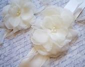 Ivory Bridal Sash and Matching Hairpiece, Ivory Bridal Belt, Ivory Wedding Sash, Ivory Wedding Belt, Bridal Accessories ASHLEY SET  Ashley