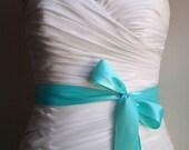 DIAMOND BLUE - 1.5 Inch Simple Satin Bridal Sash