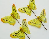 Yellow with Orange Butterfly Hairpins - Set of 4 Large Butterfly Bobbypins