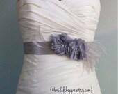 Platinum Gray Bridal Sash Belt, Grey Bridal Sash, Charcoal Bridal Sash, Grey Wedding Belt, Wedding Accessories Mallory