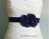 Wedding Sash BREANNA in Navy Blue Satin with Seed Bead Centers Bridal Belt Bridesmaid Sash