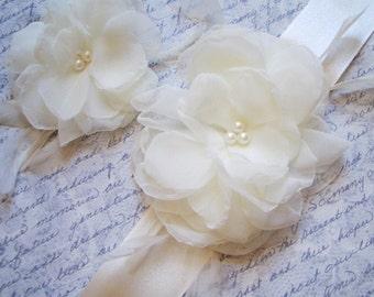 White Bridal Sash and Matching Hairpiece, White Bridal Belt, White Wedding Sash, White Wedding Belt, Bridal Accessories ASHLEY SET  Ashley