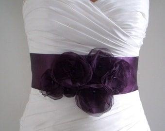 Bridal Sash Belt AUBERGINE - Dark Eggplant Purple Satin Bridal Belt, Bridal Accessories, Wedding Sash, Purple Flower Sash