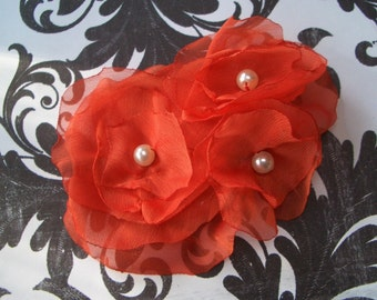 SHELBY- Red-Orange Chiffon Flower