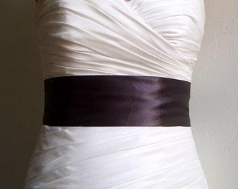 Clearance Sale - ESPRESSO - 3 Inch Simple Dark Brown Satin Bridal Sash