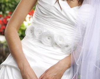 BRIGHTYN - Ivory on Ivory Bridal Sash with Silver Beading