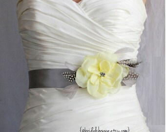 Bridal Sash, Wedding Sash Belt, Bridal Accessories, Yellow on Gray Feather Bridal Belt Wedding Sash