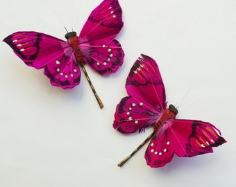 Fuchsia Pink and Black Butterfly Hairpins - Set of 2 Small Butterfly Bobbypins