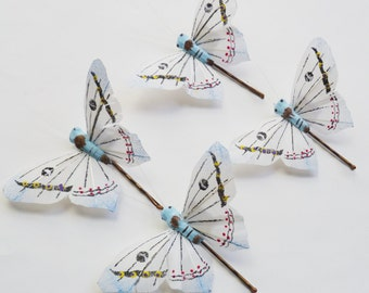 White and Light Blue Butterfly Hairpins - Set of 4 Large Butterfly Bobbypins