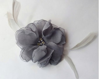 """ASHLEY Petite Hairclip - 3""""  Platinum Chiffon Flower Hairpiece with Feathers"""