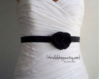 Wedding Sash Bridesmaid Mini PEARL - Black  on Black Mini Sash