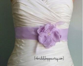 ASHLEY Lilac Bridal Sash  - Purple Bridal Sash. Bridal Belt with Lavender Feathers
