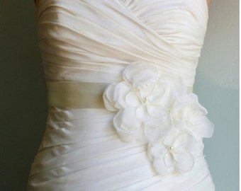 Bridal Sash Belt Wedding Accessories Three Light Ivory Flowers on Ivory Bridal Sash CASCADE