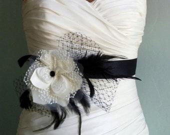 Black and Ivory Bridal Sash, Bridal Belt, Bridal Accessories, Weddings, Wedding Accessories, Belts and Sashes Sadie