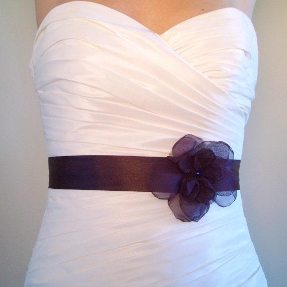 Bridal Sash, Wedding Sash, Bridal Accessories  Aubergine Bridal Sash, Dark Eggplant Purple Satin Bridal or Bridesmaids Sash - JOSIE