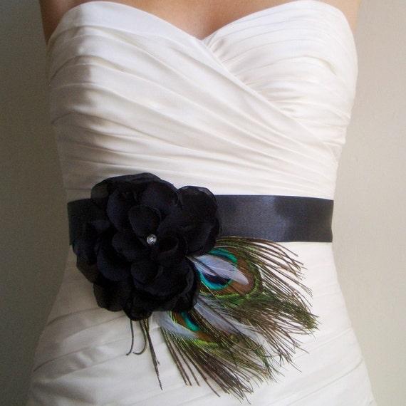 Items similar to black bridal sash belt peacock wedding for Peacock wedding dress sash