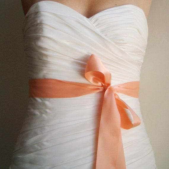 PEACH Bridal Sash, Peach Wedding Sash, Peach Wedding Accessories, Peach Bridal Belt - Simple Satin Bridal or Bridesmaids Ribbon Sash