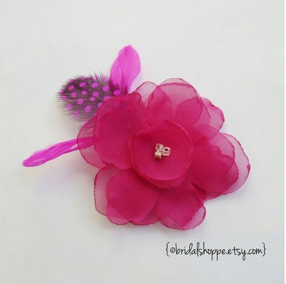 Ready to Ship SWEET PEA - Fuchsia Chiffon Flower Fascinator