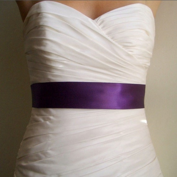 Violet Sash - 2 Inch Dark Purple Simple Satin Bridal Sash Ready to Ship