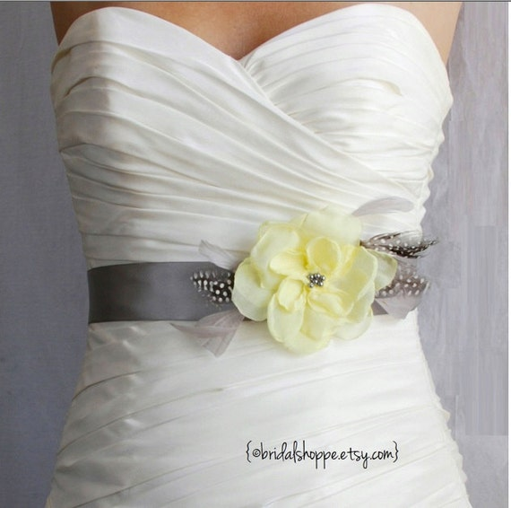 Wedding Sash Belt and Hairpiece  PETITE JOSIE - Yellow on Grey Feather Bridal Belt with Polkadot