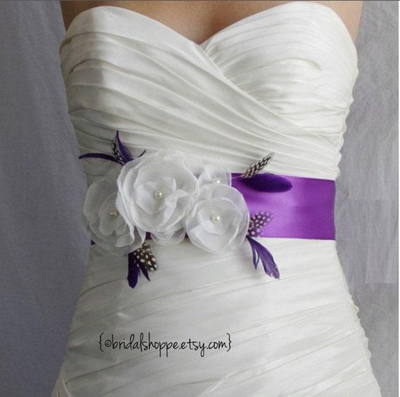 Wedding Sash Ivory Grace Bridal Sash  - Violet and Ivory Flower and Feather Bridal Sash Belt