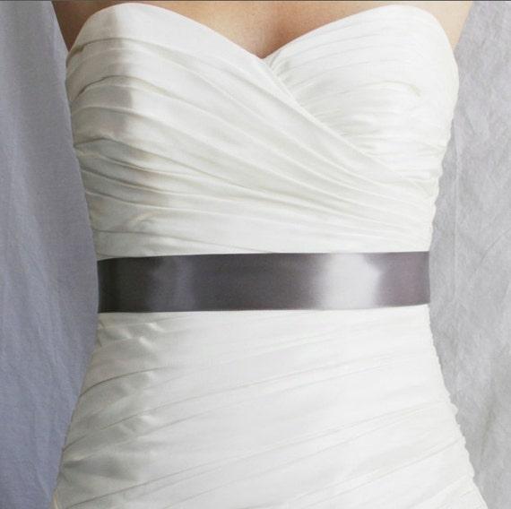 Charcoal Bridal Sash, Pewter Bridal Sash, Charcoal Wedding Belt, Charcoal Wedding Accesories - 1.5 Inch Simple Satin Ribbon Bridesmaid Sash