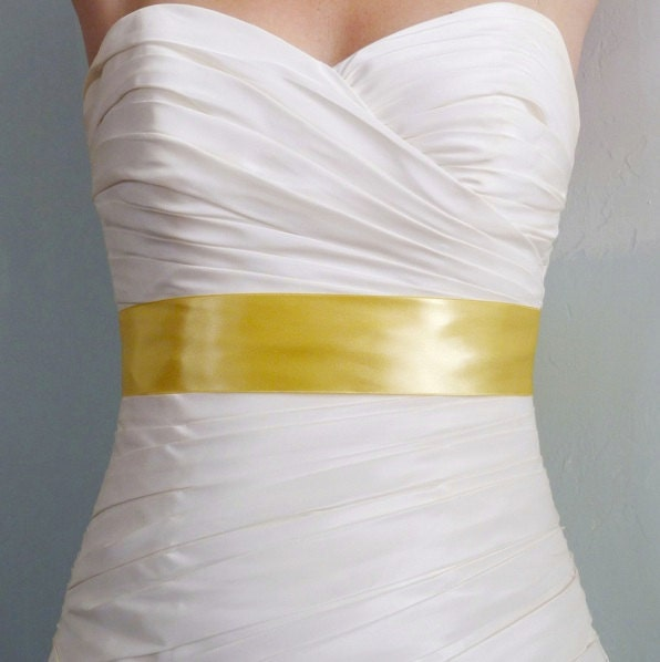 Wedding dress yellow sash