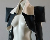 Bolero Jacket Silk Latex look Steampunk Black Cropped. Sexy, Edgy and Extremely Chrisst. SPECIAL ETSY PRICE - Chrisst Unique Fashion