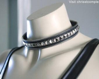 Studded Silver Choker Pyramid Stud Zipper Edge - CHRISST