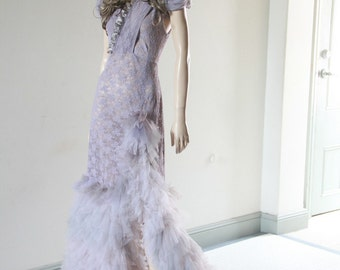 Steampunk Victorian Wedding Dress Gown Gothic Fantasy Fashion Lavender CHRISST