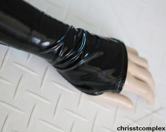 PVC Gloves Shinny Black Opera Glove Fashion Glove - build up a luxe layered look with Shinny accessories - Chrisst Unique Fashion