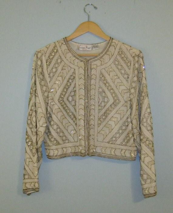 AMAZING Vintage Laurence Kozar NY  beaded off white jacket