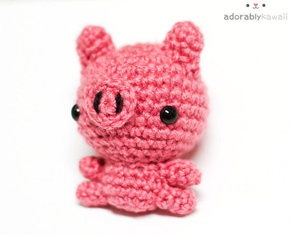 cute mini pink pig amigurumi plush doll toy ooak
