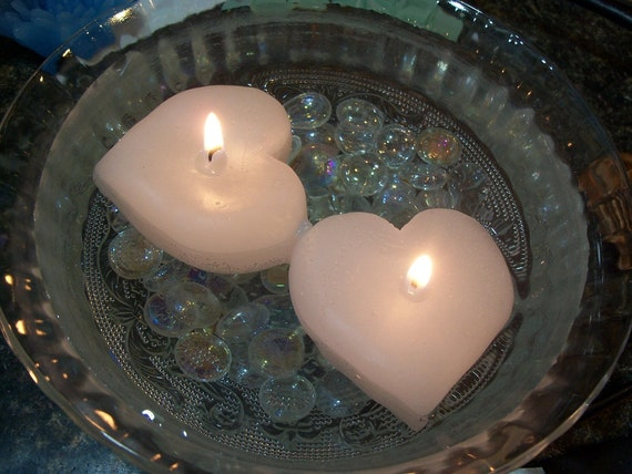 Floating Heart Candles, Set of 6, Super Long Burn Time, Unscented, White
