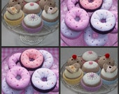 2 Knitting Patterns - instant download - donuts, cakes and buns