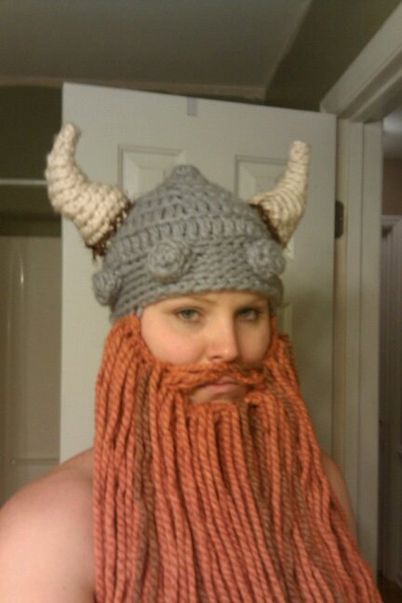 Crochet Viking Hat With Beard : Viking Hat with Beard -- Great Gift For 50
