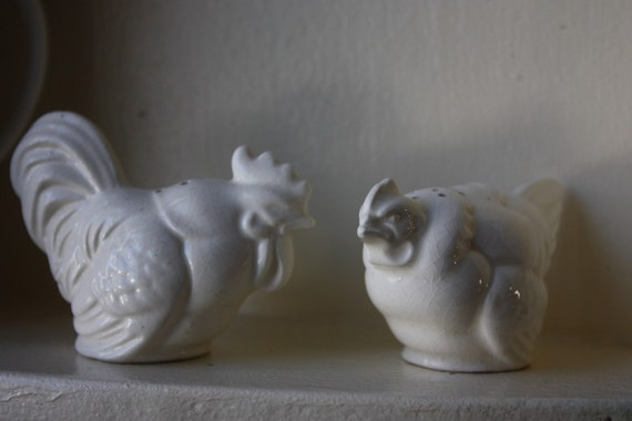 Vintage Rooster and Hen Salt and Pepper