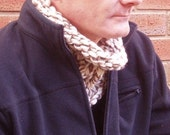 Man's Chunky Cream and Brown Cabled Neck Cosy