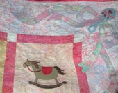 Pink Baby Quilt, Ball Blocks Bottle Baby Bunny Bear