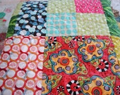 Twin or Full Size Quilt Bright Colors, Big Flowers, Swirls and Zebra Stripes